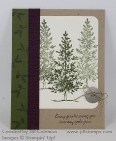Lovely As A Tree Every Year Card, Jill Coleman, In Color, Stampin' Up!, metal button, linen thread