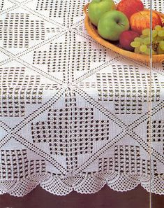 Vintage Crochet Tablecloth or Throw With Medieval Cross Pattern, Milk White Cotton Yarn Filet Crochet, Crochet Doily Patterns, Crochet Diagram, Crochet Squares, Crochet Doilies, Crochet Tablecloth Pattern, Crochet Bedspread Pattern, Crochet Buttons, Thread Crochet