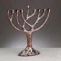 Tree of Life Copper Menorah