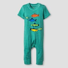 Baby Boys' Short-Sleeve Awesome Romper Baby Cat & Jack - Green 0-3M, Infant Boy's, Size: 0-3 M