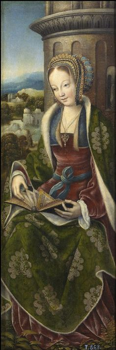 St. Barbara (wings of tryptich), by Master of Frankfurt, 1510-1520
