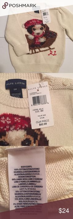RL girls Christmas sweater size 9 months NWT Adorable girls RL Christmas beagle sweater. 100% cotton, buttons at neck. NWT. Ralph Lauren Shirts & Tops Sweaters