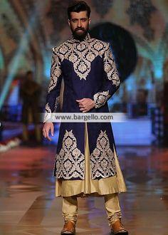 Branded Jamawar Sherwani for Mens Color: Navy Blue Fabric: Jamawar Elegant sherwani Indian Wedding Wear, Pakistani Wedding Dresses, Wedding Men, Desi Wedding, Pakistani Bridal, Indian Bridal, Sherwani Groom, Wedding Sherwani, Indian Man