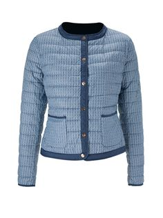 'Patrizia' Print Quilted Jacket is a classic style redefined in lightweight quilted nylon. With snap front, two pockets, open cuffs, contrast trim.