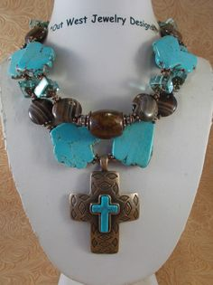 Christian Cowgirl Necklace Set  Chunky Aqua by Outwestjewelry