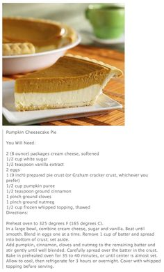 PUMPKIN CHEESECAKE PIE. Ahh, a pie with simple everyday ingredients and doesn't need a springform pan (I don't have one)!