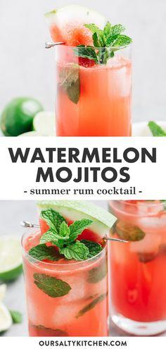 Watermelon Cocktail, Strawberry Mojito, Mojito Cocktail, Watermelon Mint, Pineapple Juice, Refreshing Summer Cocktails, Fun Cocktails, Summer Drinks, Fancy Drinks