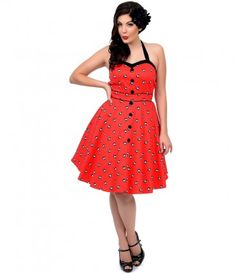 Take a fashion cue from the polka dot halter 8-ball dress #rockabilly #uniquevintage