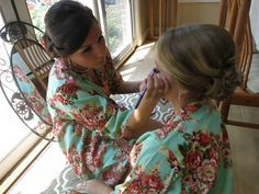 Bride and Bridesmaid Robes/ Floral Bridesmaid by SunsetToSunrise