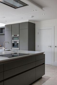 Warm Grey Corian®, designed by Uber Kitchens Most Popular Kitchen Design Ideas on 2018 & How to Remodeling Simple Kitchen Design, Grey Kitchen Designs, Kitchen Cabinet Design, Interior Design Kitchen, Kitchen Cabinetry, Kitchen Units, New Kitchen, Kitchen Ideas, Kitchen Sink