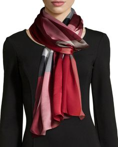 Burberry Mega Check Mulberry Silk Scarf, Red