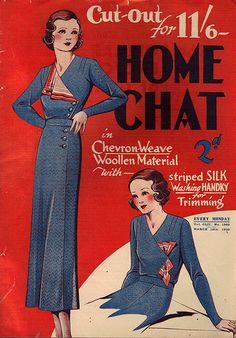 Lovely Home Chat magazine cover for March 18, 1933. #vintage #1930s #fashion #magazines