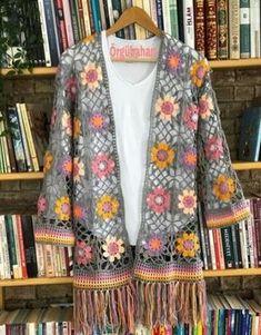 Easy Crochet Cardigan Video Tutorial - free pattern made from two hexagons Crochet Bolero, Gilet Crochet, Crochet Coat, Crochet Cardigan Pattern, Crochet Jacket, Crochet Blouse, Crochet Clothes, Crochet Baby, Crochet Fashion