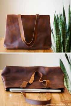 classic brown leather tote