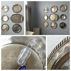 "Create a montage of silver platters on your dining room wall with DIY plate hangers and antiquing effects. Hot glue a paper clip to the back of each platter and rub a small amount of bleach on polished platters to give them an ""aged"" silver look.  (How to antique silver. How to hang silver platters. Diy)"