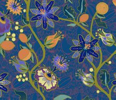 blue Palampore fabric by lfntextiles on Spoonflower - custom fabric