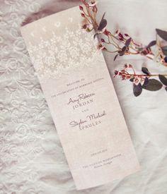 Rustic Lace Wedding Programs Vintage Elegant by DaysGoneDesign