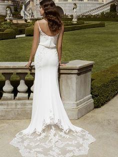 Ibarra Ezonain Blue ivory wedding dress with a stunning train, back view!