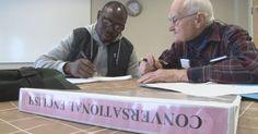 1/25/16   90 year old tutor helping refugee learn new language. Portland, Me.