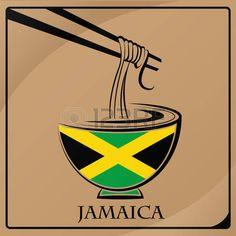 Logotipo de espaguetis. Bandera de Jamaica...