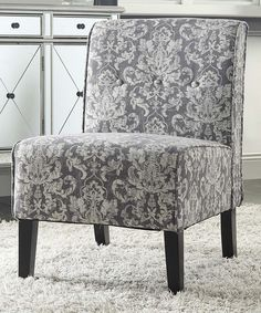 Linon Home Gray Damask Coco Accent Chair | This minimalist accent chair boasts a modern silhouette with tufted upholstery and comfortable cushioning, which makes for a sleek seat that's suitable for any home