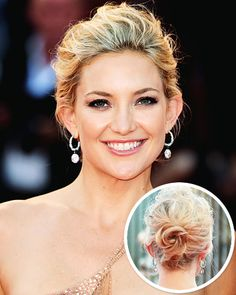 Kate Hudson's look has a slight floral vibe. Channel the beauty of Italy to create the star's breezy, yet polished, style. Rather than juggling multiple tools, use your fingers as a comb so you don't disturb the natural texture of hair