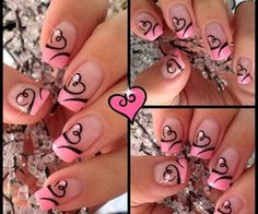 blush pink and black  nails | Easy Valentine's Day Nail Art | Cute Heart French Tip Nails