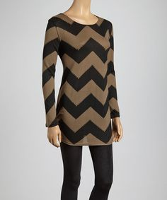 Take a look at this Black & Olive Zigzag Scoop Neck Tunic by Lady's World on #zulily today!
