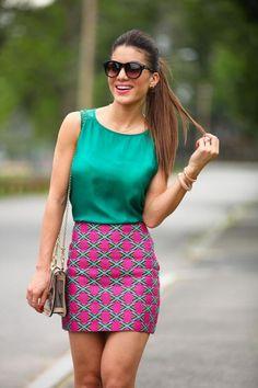 Colorful pattern skirt, green chiffon top