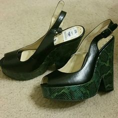 Nine West Wedges New with tags however there is a chip off the side of the heel. Still in pristine condition and issue does not affect the shoes ability to be flat on the ground. Nine West Shoes