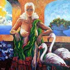 # 258 Mujer con flamencos y el mar profundo,   Autor: RomSabi, acrilico sobre tabla madera, 60x60cm