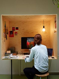 Random Studio in Amsterdam, Photography: Kasia Gatkowska  - This is your work space. Work doesn't leave this space, nor does life enter the box. I also like the light hanging from the roof. I wonder how that looks on the top of the box.