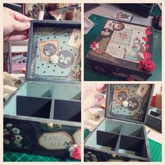 Cajita para guardar te, madera pintada y decapada, con decoración de Alicia en el País de las Maravillas!! Hecho a mano. Medidas 15x15 http://www.craftmebaby.com/shop/scrapbook/cajita-de-te-alicia/