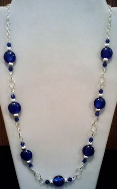 Sapphire Silver Foil and Silver Beaded Necklace on Elegant Silver Eyepin Chain, Handmade Fun Beaded Fashion Jewelry, Blue Silver Necklace - Perlen Schmuck Beaded Earrings, Beaded Jewelry, Silver Jewelry, Fine Jewelry, Jewelry Necklaces, Jewelry Making, Silver Ring, Silver Earrings, Craft Jewelry