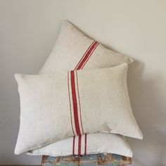 Bed Pillows, Cushions, Grain Sack, Linen Fabric, Pillow Cases, Upholstery, Embroidery, Antiques, Vintage