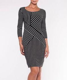 Look at this #zulilyfind! Black & White Stripe Three-Quarter Sleeve Bodycon Dress #zulilyfinds