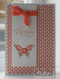 Peach droplet paper, ribbon and ink highlight this great handmade Happy Birthday card.  The butterfly punch is embellished with a pearl.