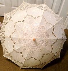 Handmade Vintage Battenburg Ivory Lace Parasol Umbrella for Bridal Flower Girl Wedding Decoration