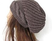 Hand Knit Hat- Womens hat - chunky knit Slouchy Beanie  Slouch  Hat Winter Accessories knitted beret taupe Autumn Fashion
