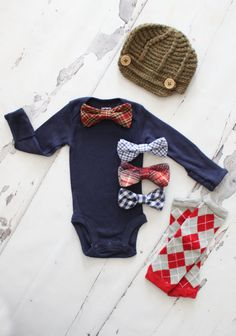 Available Sizes Newborn - 24 Months This Listing is for any of the following {or select Set of 3 and you will receive all}: Newsboy Hat Leg Warmers {1 pair - Choose your color and style} Bow Tie Bodysuit The set of 3 includes: Newsboy Hat Leg Warmers {1 pair - Choose your color