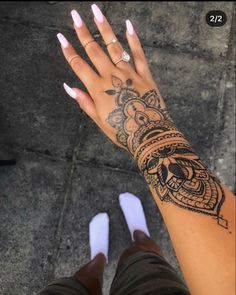Arm Tattoos For Women Forearm, Outer Forearm Tattoo, Ankle Tattoos For Women, Henna Arm Tattoo, Mandala Hand Tattoos, Foot Tattoos, Tribal Feather Tattoos, Henna Designs, Pretty Hand Tattoos