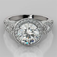 2.33Ct Round Cut Engagement Ring in 14K White Gold #AgapeDiamonds #SolitairewithAccents