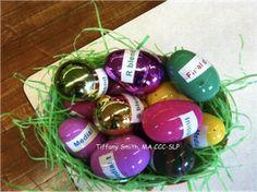 Speech-ster Egg Hunt: Goals on the outside, stickers on the inside!