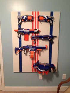 Chad paint for nerf wall Nerf Gun Storage, Diy Storage, Arma Nerf, Gun Rooms, Video Game Rooms, New Room, Kids Bedroom, Guns, Inspiration