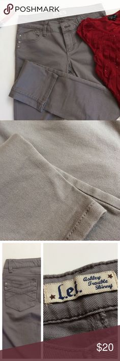 """L.e.i. Ashely Trouble Skinny Gray Jeans! Earl gray jeans. Have never been worn. The length of the jeans from waist to cuff is 40"""" long. They're very pretty looking and would go great with your favorite stylish boots and top! lei Jeans Skinny"""