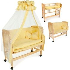 baby bedside wooden cot 94x44x75 cm rolls co sleeper yellow 8 pieces adjustable. Black Bedroom Furniture Sets. Home Design Ideas