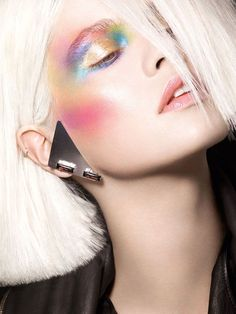 maybelline: Icy blonde hair pops with technicolor eyeshadow. maybelline: Icy blonde hair pops with technicolor eyeshadow. Makeup Fx, Runway Makeup, Makeup Inspo, Makeup Inspiration, Beauty Makeup, Hair Makeup, Makeup Ideas, Makeup Contouring, Clown Makeup