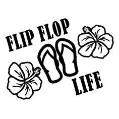 Flip Flop Life with Hibiscus Flowers 6 Inch  Decal Sticker | cafedecals - Housewares on ArtFire