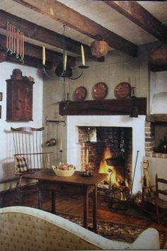 28 Ideas For House Colonial Interior Fireplaces Primitive Living Room, Primitive Homes, Primitive Furniture, Primitive Kitchen, Primitive Decor, Primitive Country, Primitive Antiques, Country Furniture, Rustic Kitchen