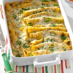 Shrimp Enchiladas with Green Sauce Recipe -I started making these enchiladas last year during the Lenten season. It allows my family to observe Lent and still enjoy Mexican food. When I brought it to school, my co-workers couldn't get enough of it.—Mari Acedo, Chandler, Arizona